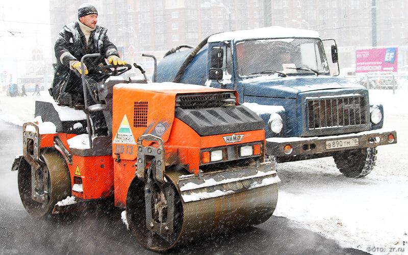 ремонт дорог зимой фото